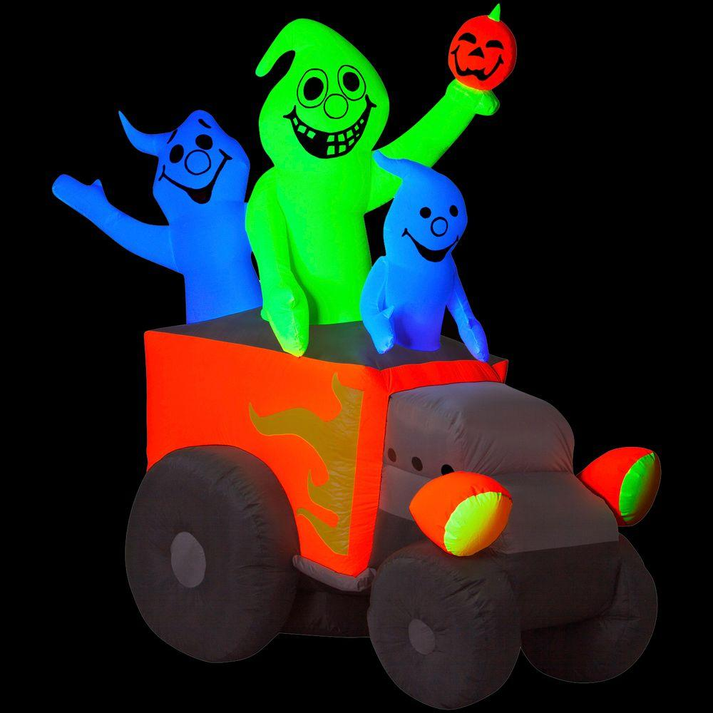 Gemmy 5 ft. Airblown Inflatable Halloween Neon Hot Rod Ghosts