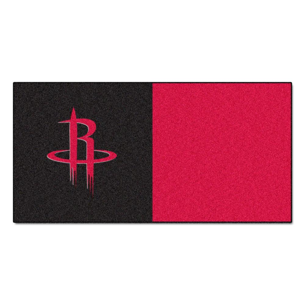 FANMATS NBA Houston Rockets Black and Red Pattern 18 in. x 18 in. Carpet Tile (20 Tiles/Case)
