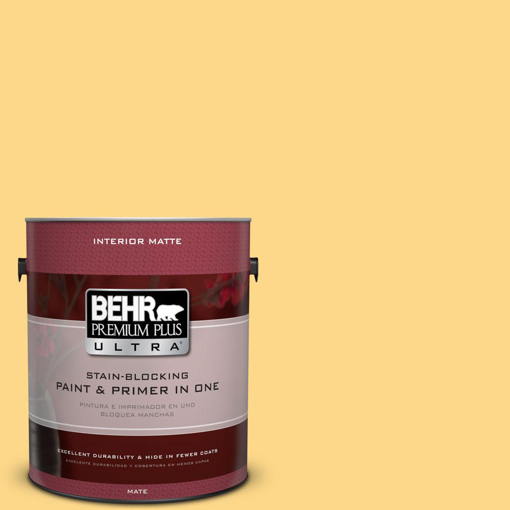 BEHR Premium Plus Ultra 1 gal. #P280-4 Surfboard Yellow Matte Interior Paint