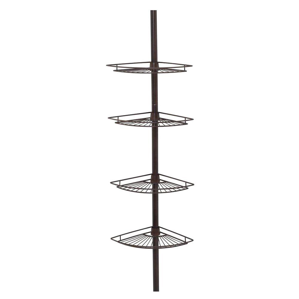 Zenna Home Tub and Shower Tension Pole Caddy with 4 Shelf in Oil Rubbed Bronze