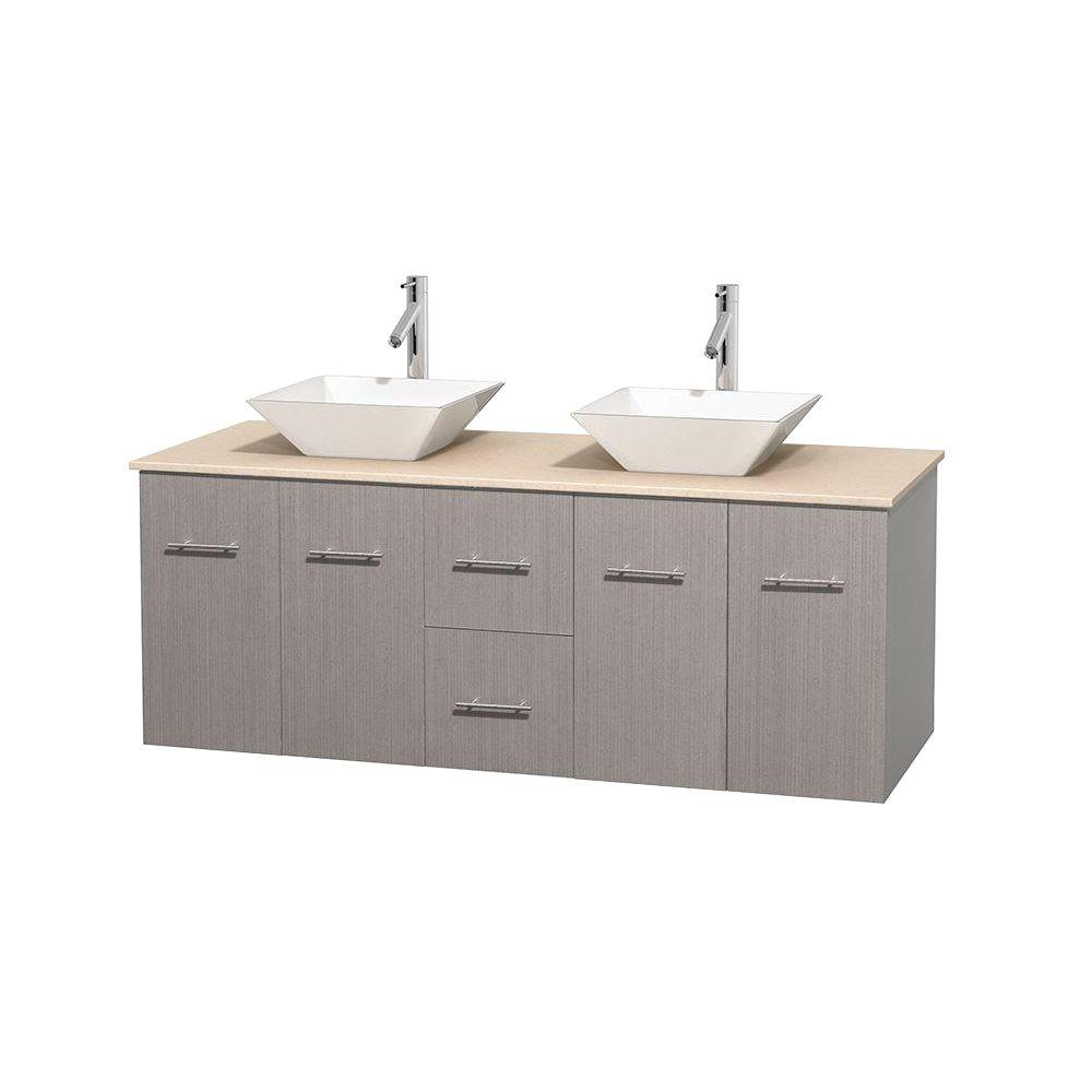 Wyndham Collection Centra 60 in. Double Vanity in Gray Oak with Marble Vanity Top in Ivory and Porcelain Sinks