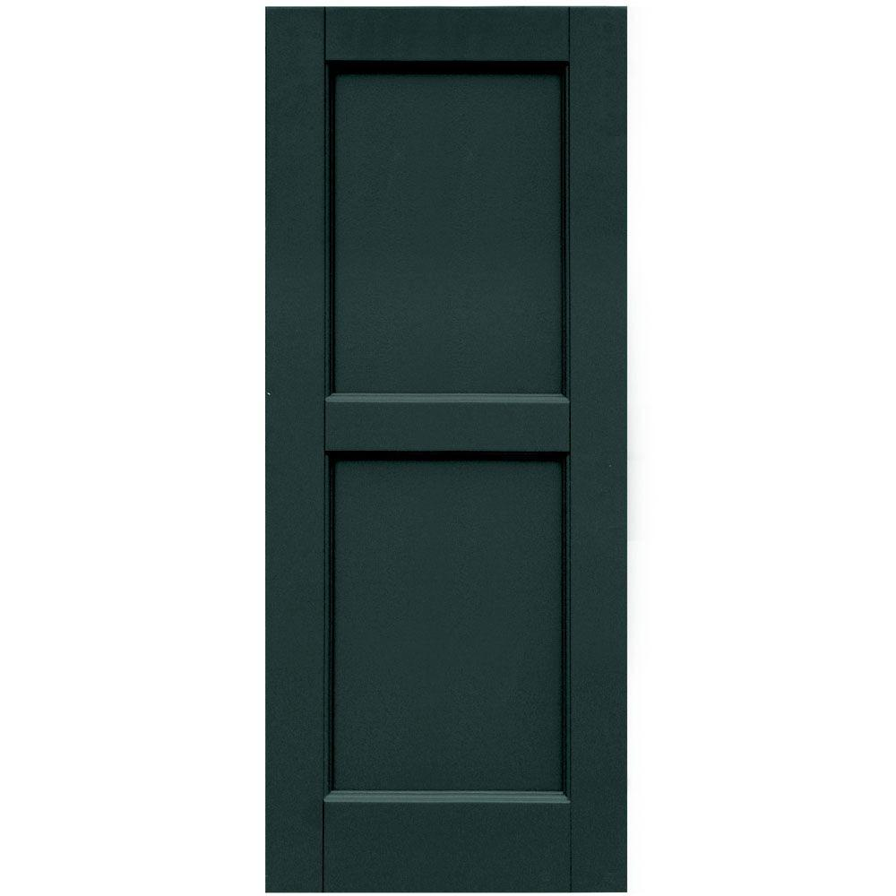 Winworks Wood Composite 15 in. x 37 in. Contemporary Flat Panel Shutters Pair #638 Evergreen