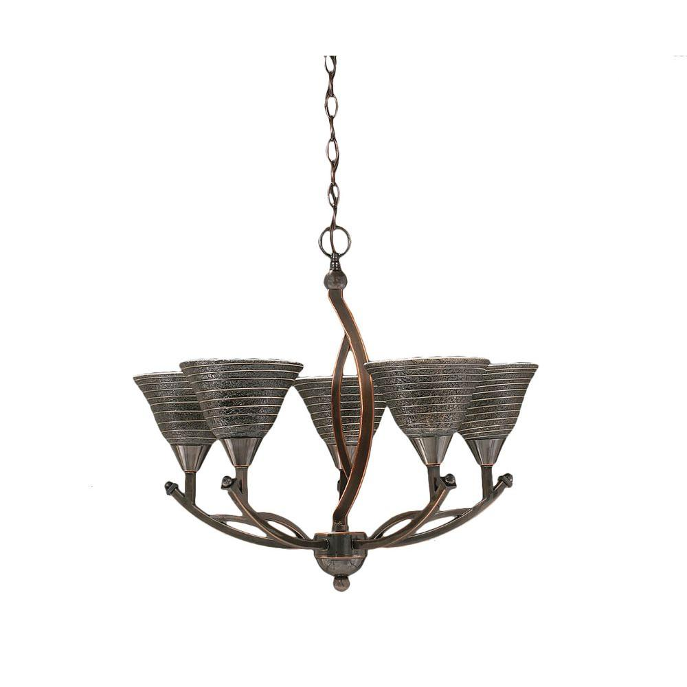 Concord 5-Light Black Copper Chandelier with Charcoal Spiral Glass