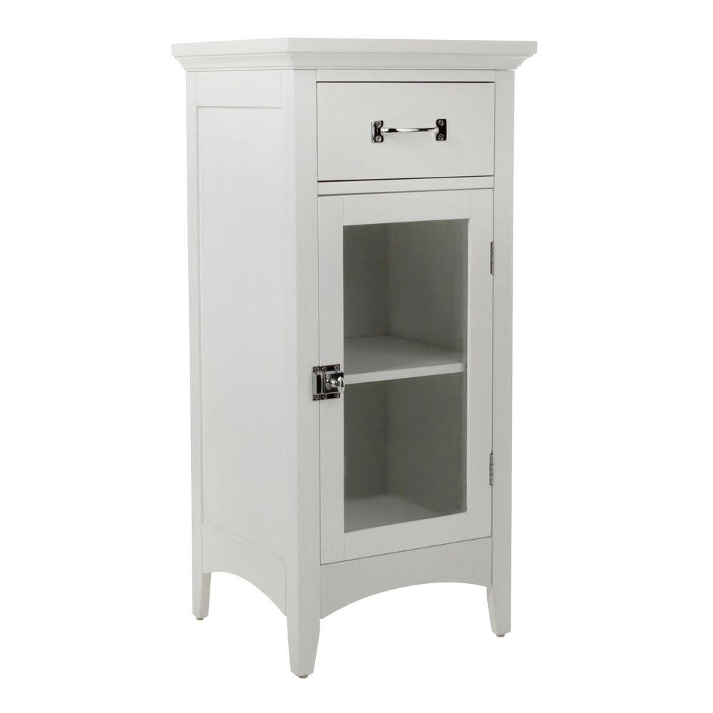Elegant Home Fashions Wilshire 15 in. W x 32 in. H x 13 in. D Bathroom Linen Storage Floor Cabinet in White