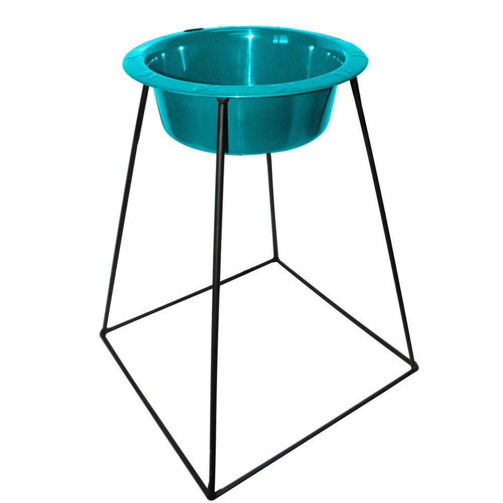 Platinum Pets 8 Cup Wrought Iron Pyramid Single Feeder with an Extra Wide Rimmed Bowl in Teal