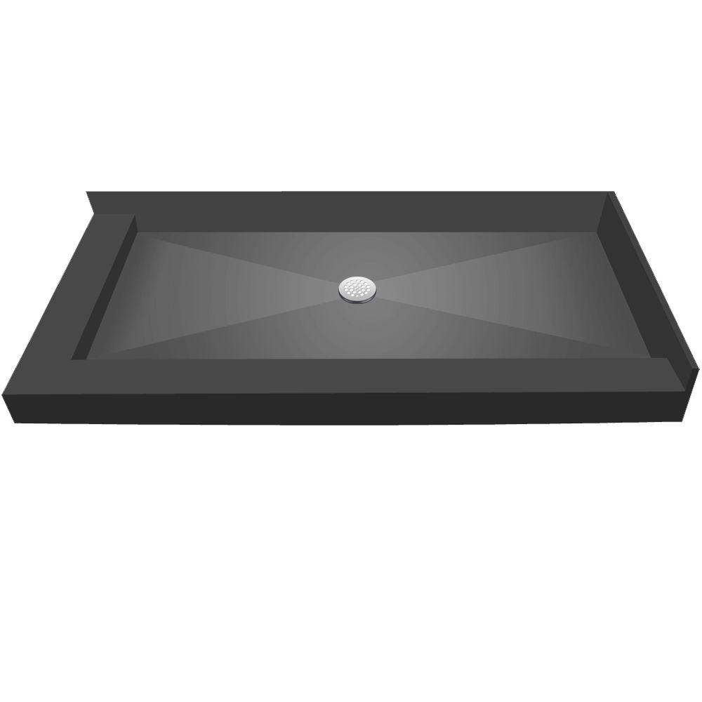 34 in. x 60 in. Double Threshold Shower Base with Center