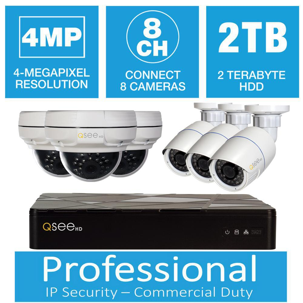 Q-See 8-Channel 4MP IP Indoor/Outdoor Surveillance 2TB NV...