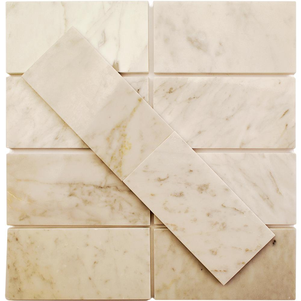 Splashback Tile Crema Marfil 3 in. x 6 in. x 4 mm Marble Mosaic Floor and Wall Tile