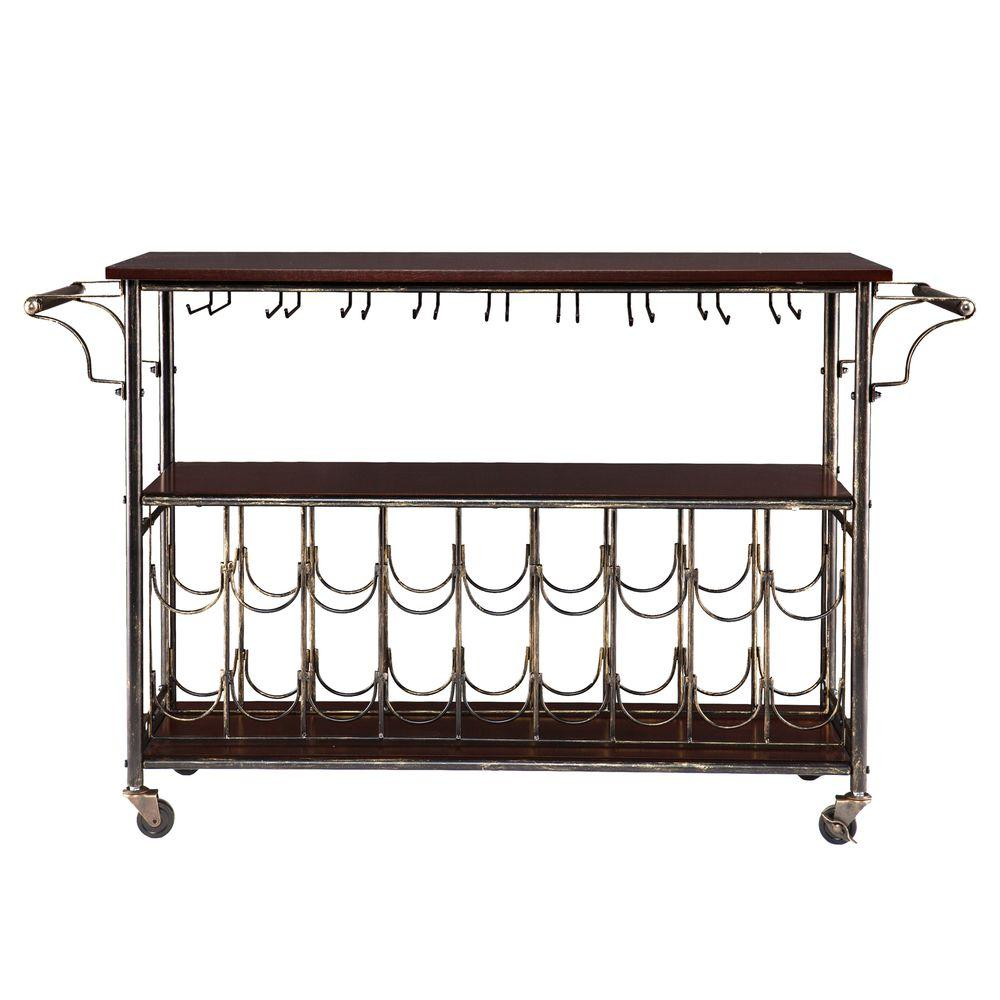 Randall 18-Bottle Bar Cart Wine Cage with Wine Glass Storage in