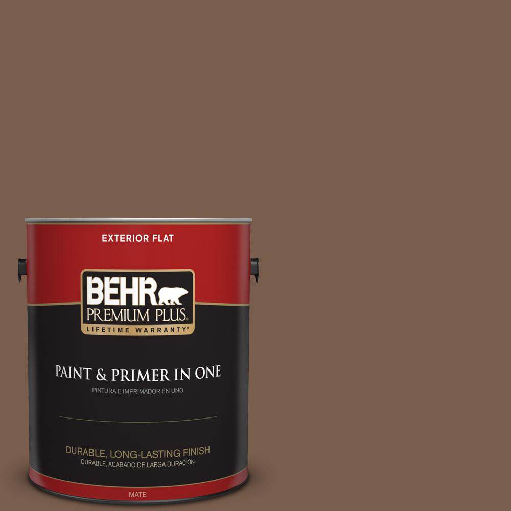 BEHR Premium Plus 1-gal. #250F-7 Melted Chocolate Flat Exterior Paint