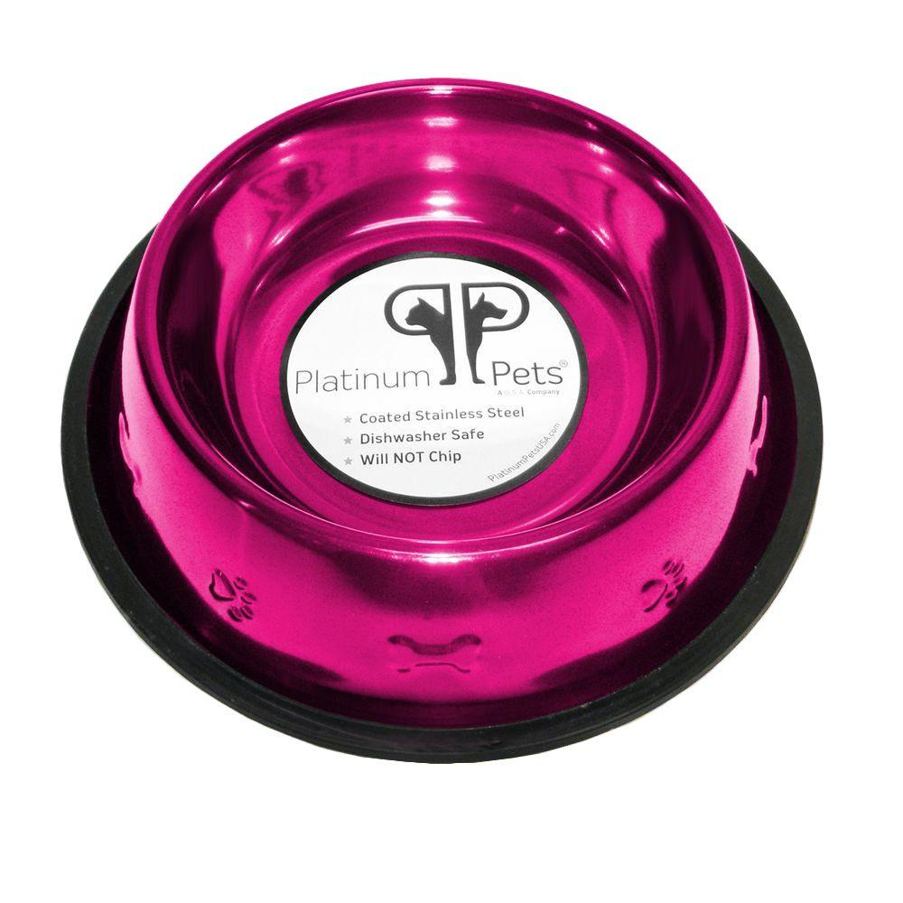 Platinum Pets 3 Cup Stainless Steel Embossed Non-Tip Dog Bowl in Raspberry