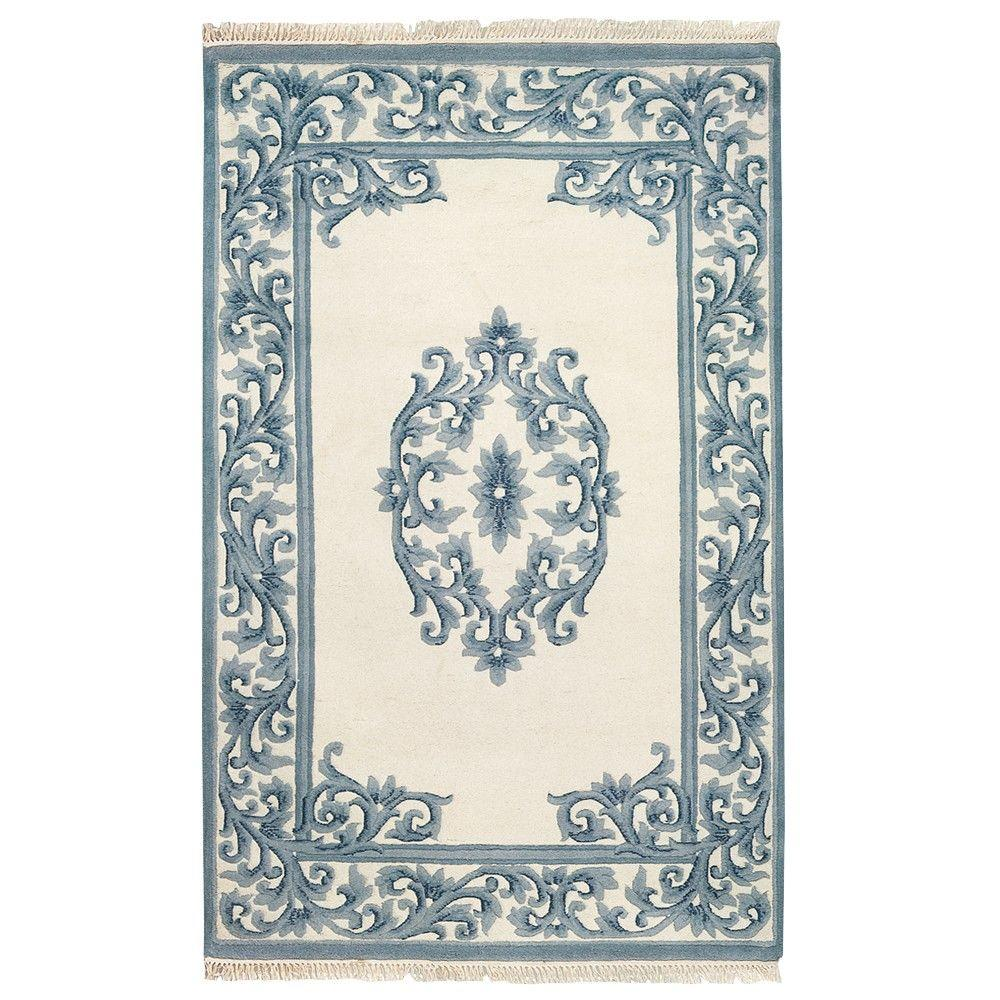Home Decorators Collection Filigree Aubusson Blue 5 ft. 3 in. x 8 ft. 3 in. Area Rug