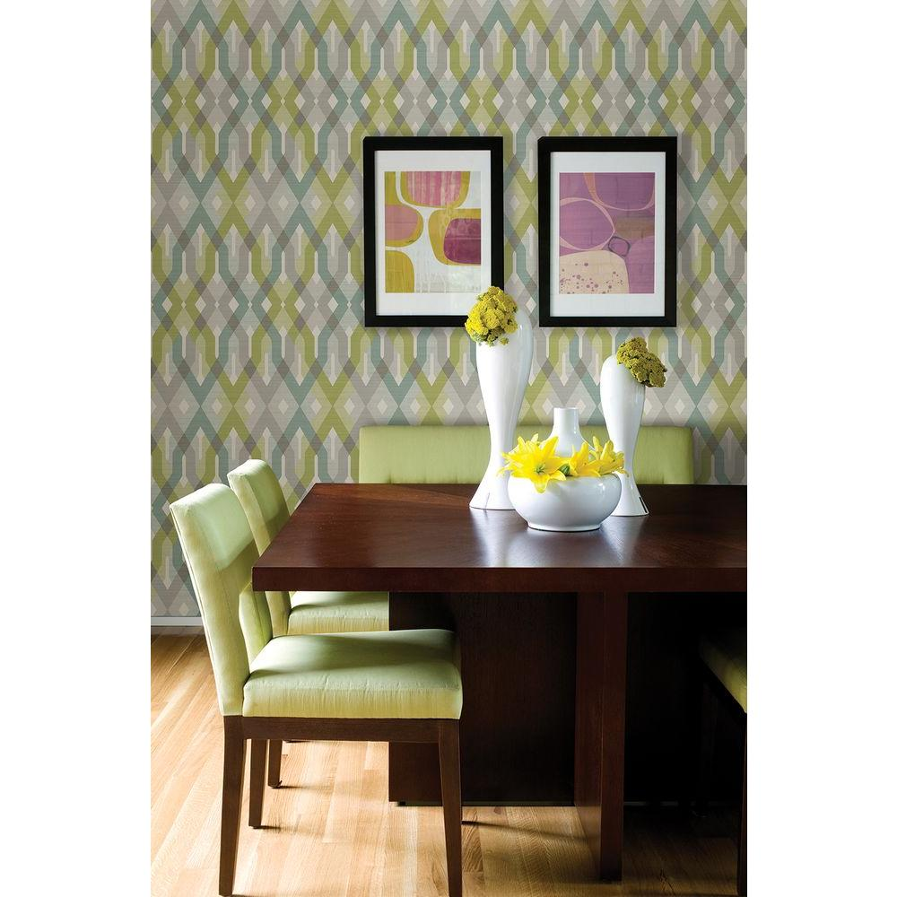 8 in. W x 10 in. H Harbour Green Lattice Wallpaper Sample
