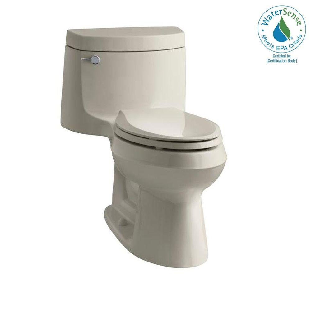 KOHLER Cimarron 1-piece 1.28 GPF Elongated Toilet with Exposed Trap and AquaPiston Flushing Technology in Sandbar