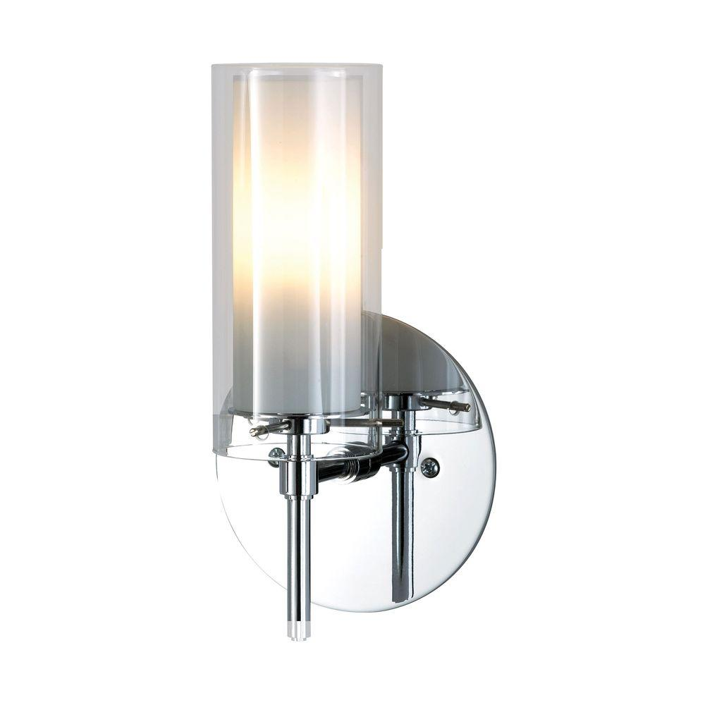 1-Light Chrome Sconce with Clear and White Opal Glass