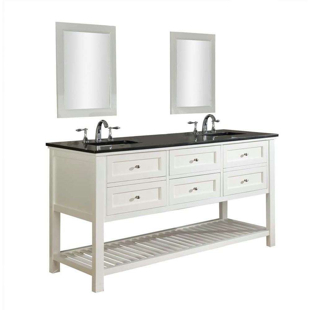 Mission Spa 70 in. Double Vanity in Pearl White with Granite