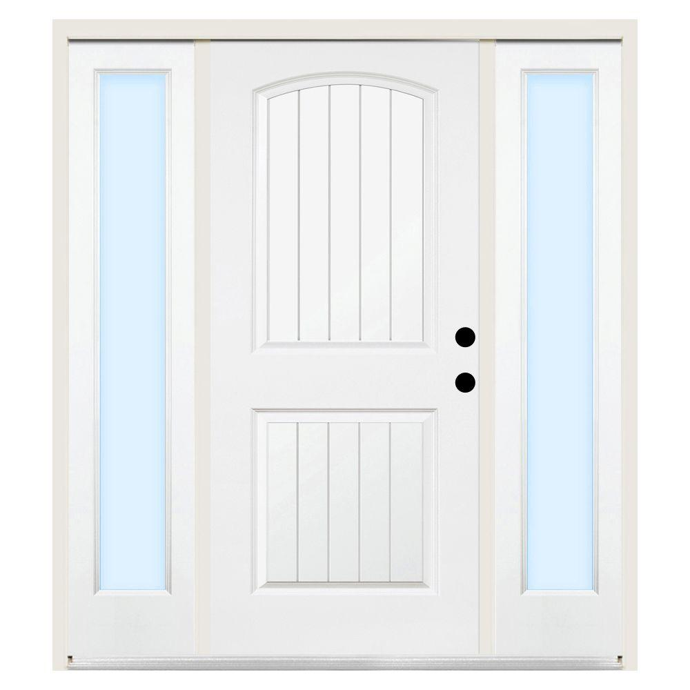 Steves & Sons 68 in. x 80 in. 2-Panel Plank Left-Hand Primed Steel Prehung Front Door w/ 14 in. Clear Glass Sidelite and 6 in. Wall