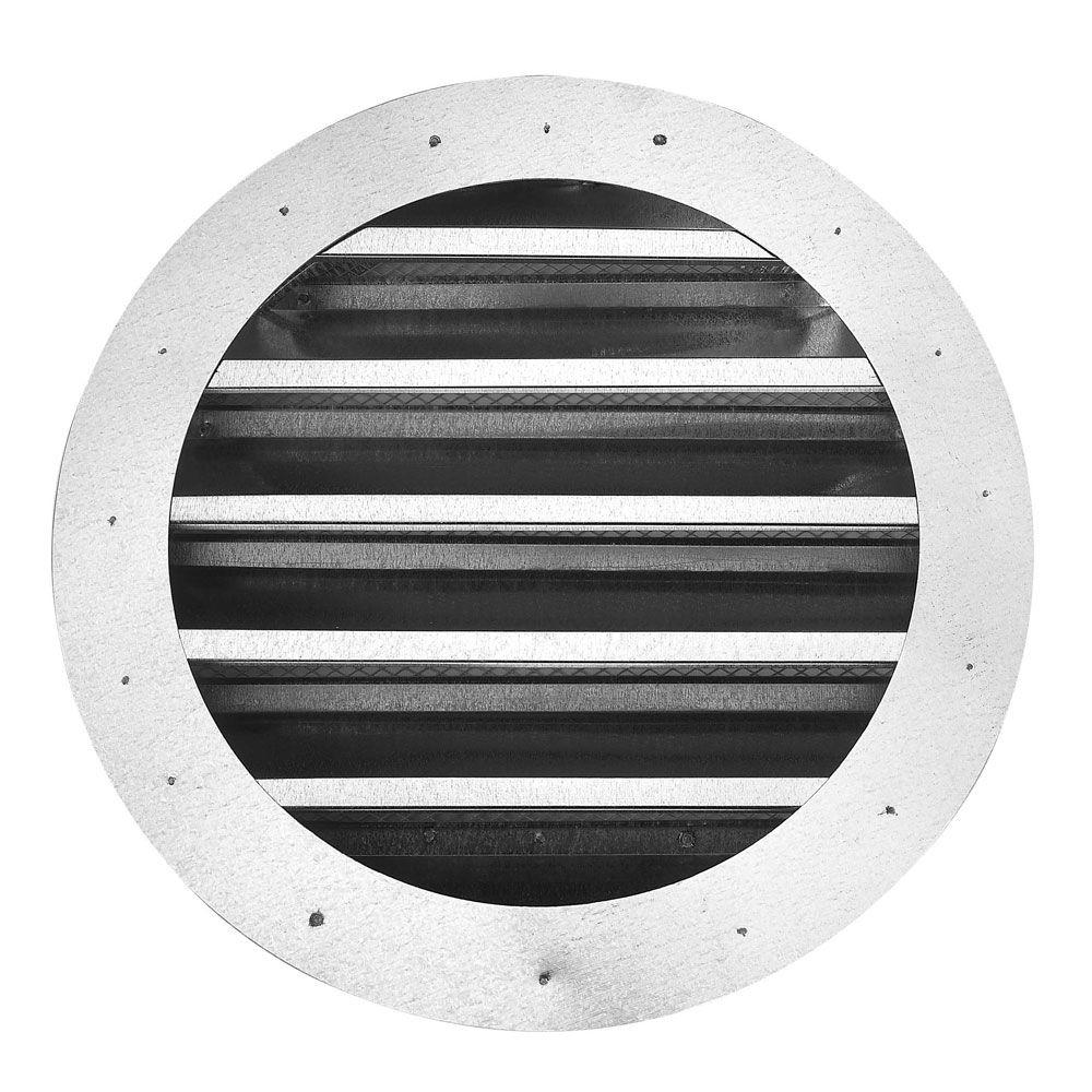 18 in. Galvanized Gable Louver Round Flange Front Vent