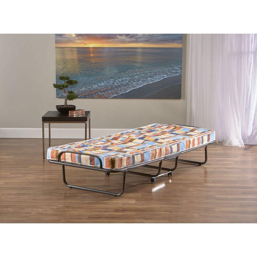 InnerSpace Luxury Products InnerSpace Torino Twin Folding Roll-Away Bed in Blue and Orange Geometric Design