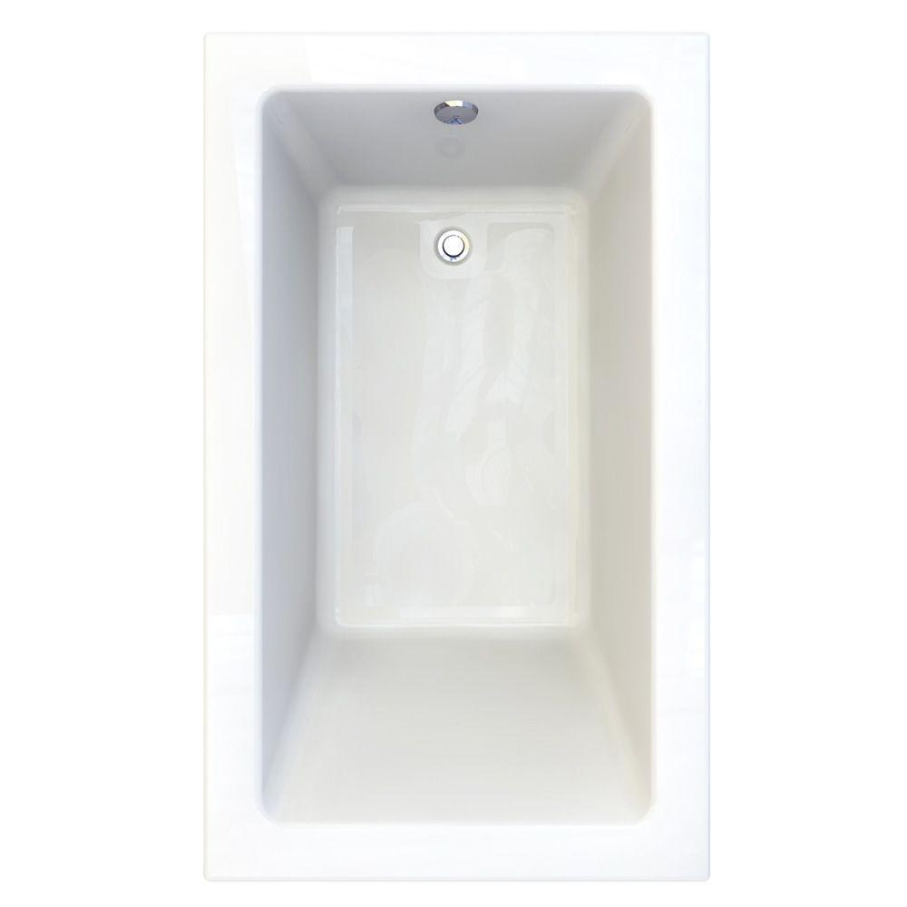 Studio 5 ft. Acrylic Rectangular Drop-in Whirlpool Bathtub in Arctic White