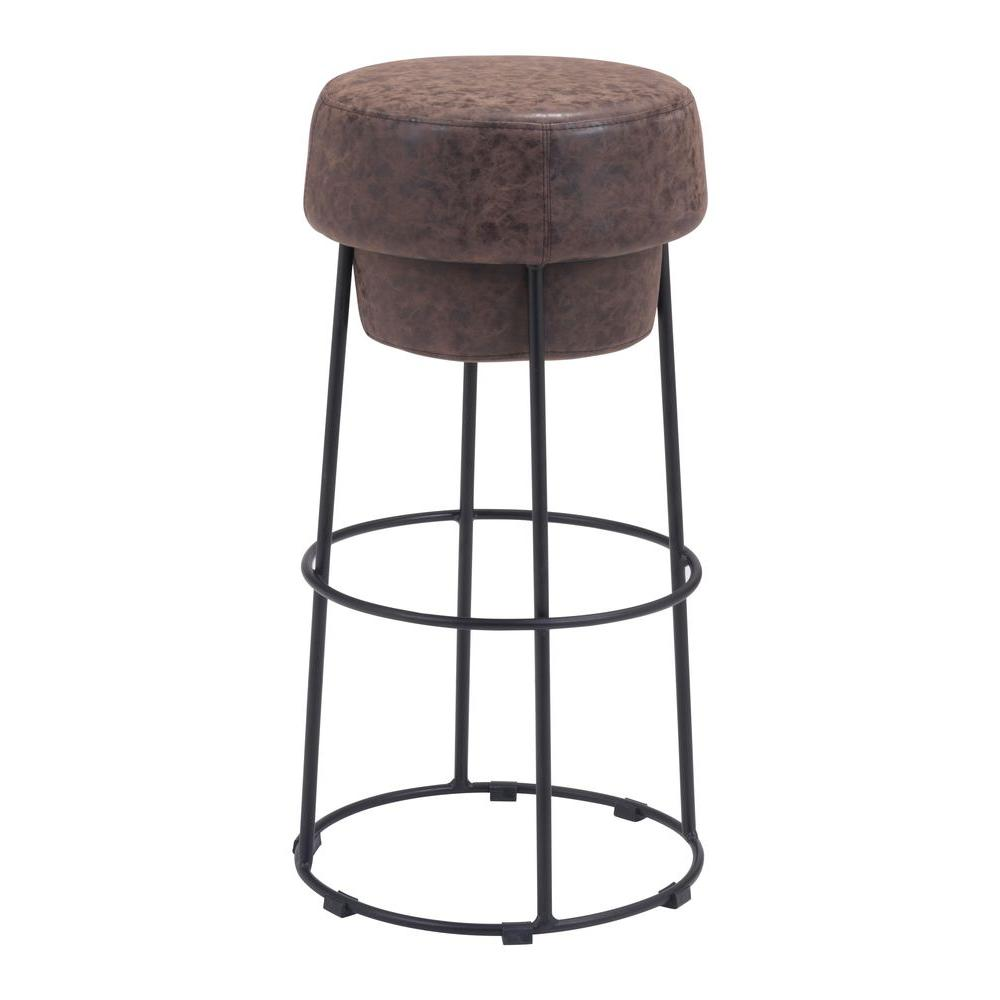Pop 29.5 in. Natural Brown Cushioned Bar Stool