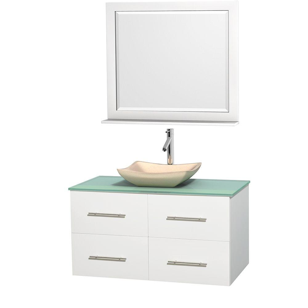 Wyndham Collection Centra 42 in. Vanity in White with Glass Vanity Top in Green, Ivory Marble Sink and 36 in. Mirror