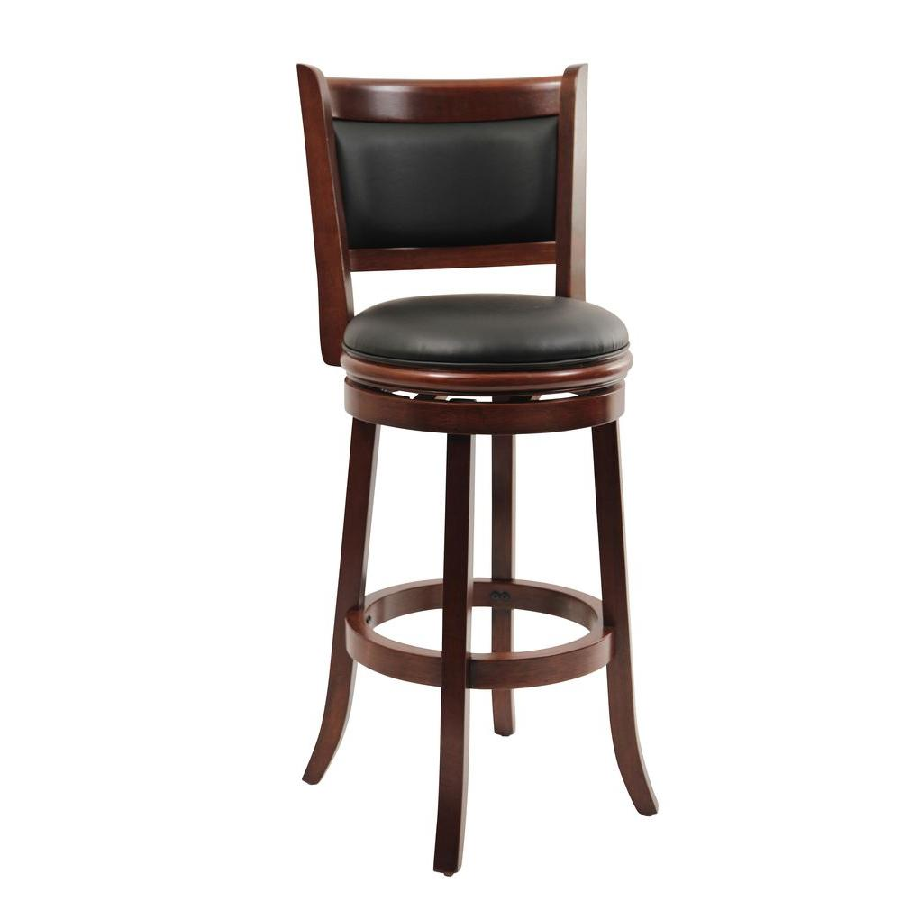 Boraam augusta 29 in cherry swivel cushioned bar stool 49829 the home depot Home depot wood bar stools