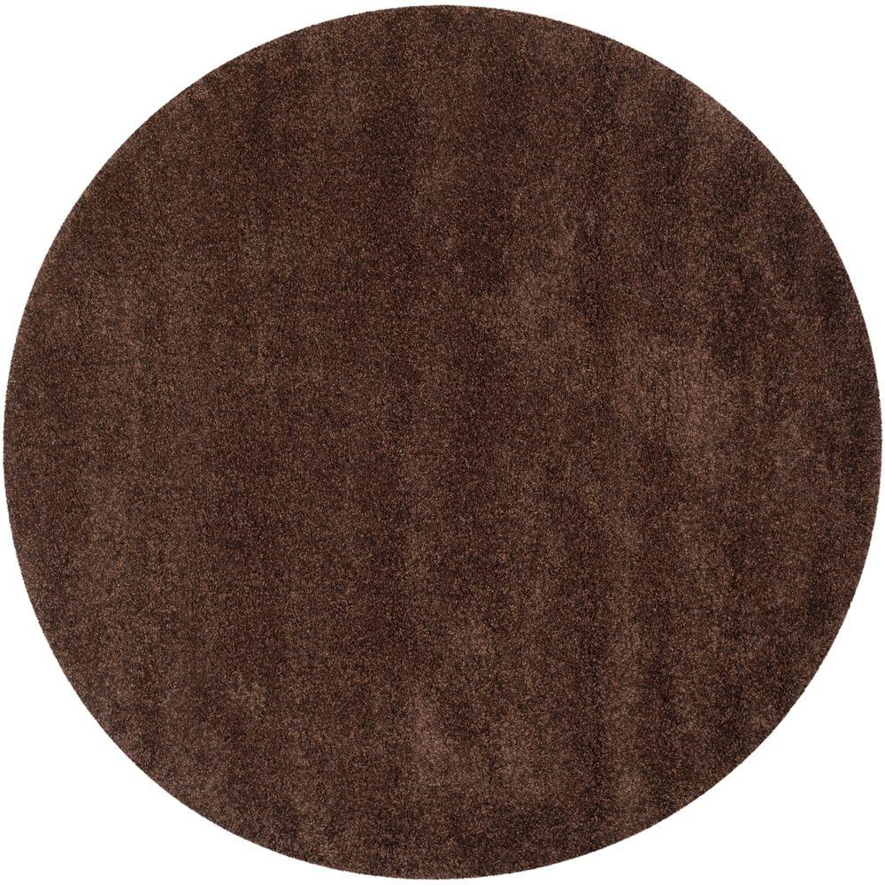 California Shag Brown 4 ft. x 4 ft. Round Area Rug