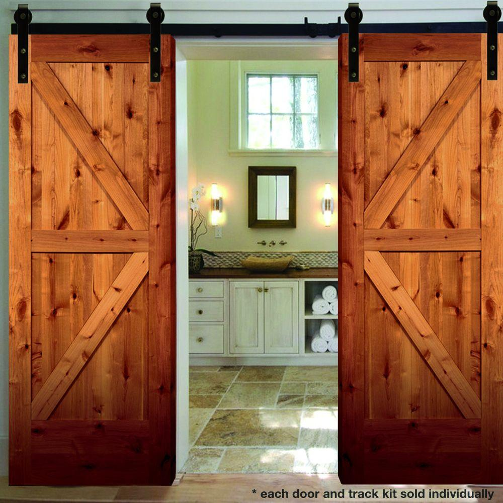 rustic 2panel stained knotty alder interior barn door slab with sliding door the home depot