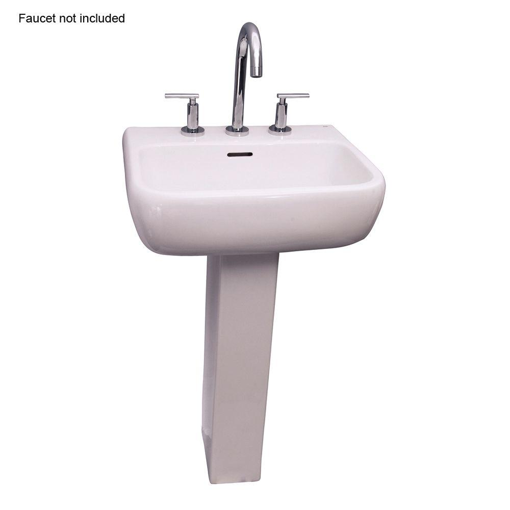 American Standard Town Square Pedestal Combo Bathroom Sink With 8 In Faucet Centers In White