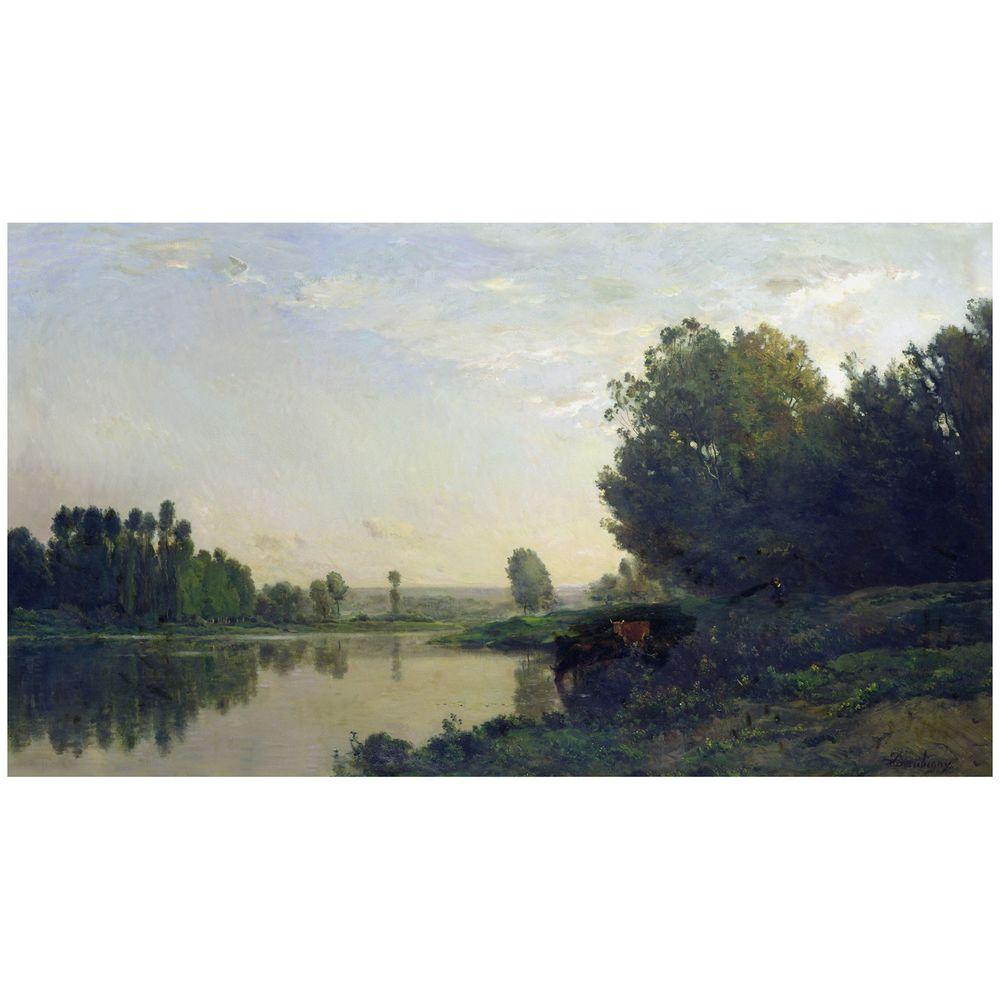 Trademark Fine Art 18 in. x 32 in. The Banks of the Oise 1866 Canvas Art