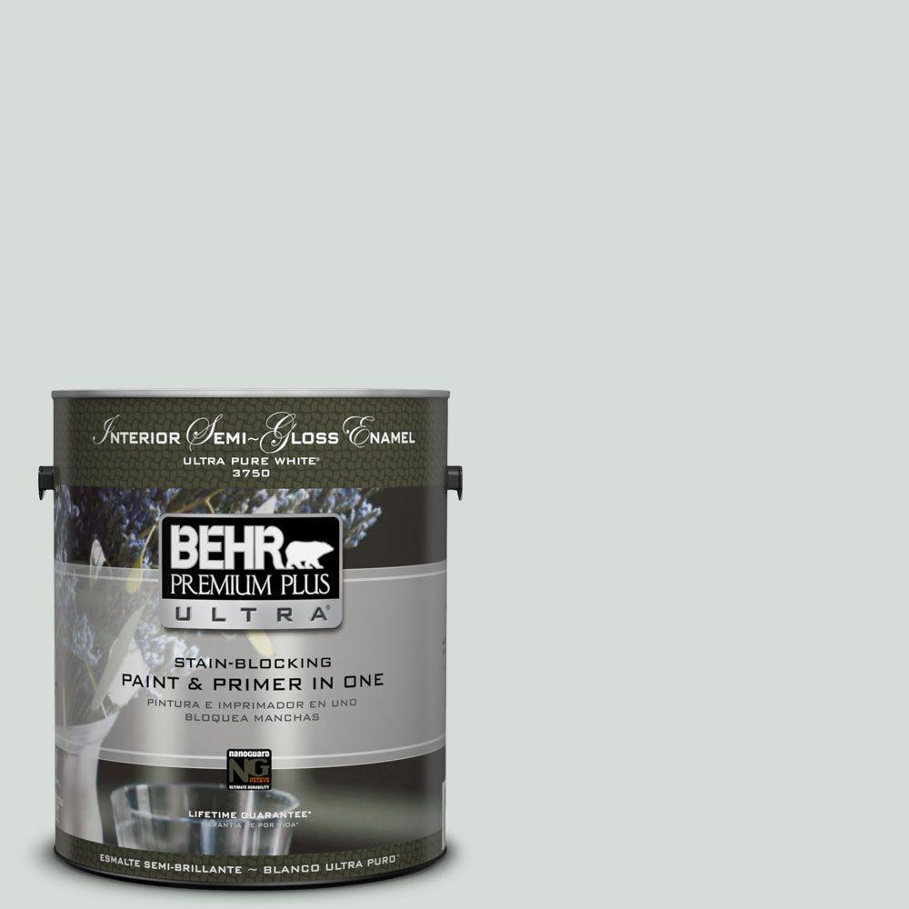 BEHR Premium Plus Ultra 1-gal. #ppl-66 Iced Slate Semi-Gloss Enamel Interior Paint