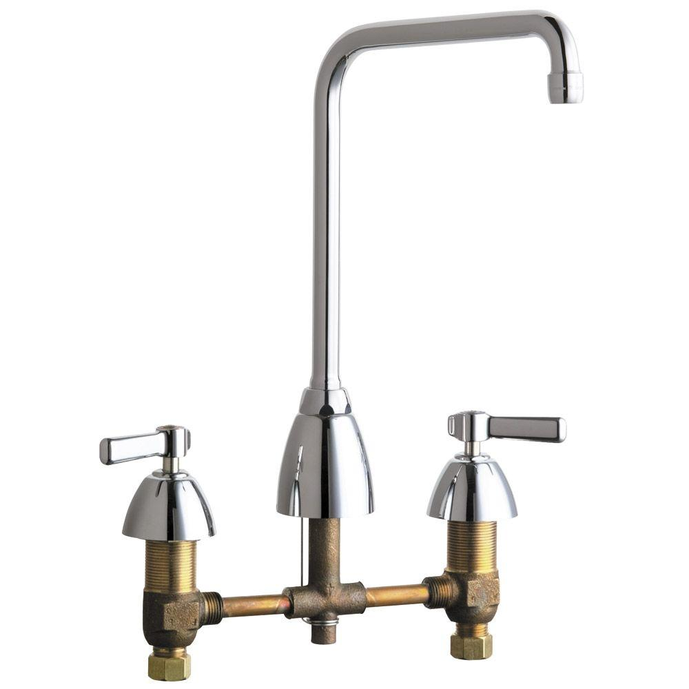 chicago kitchen faucet chicago faucets 2 handle standard kitchen faucet with 8 in rigid swing high arch spout in 3805