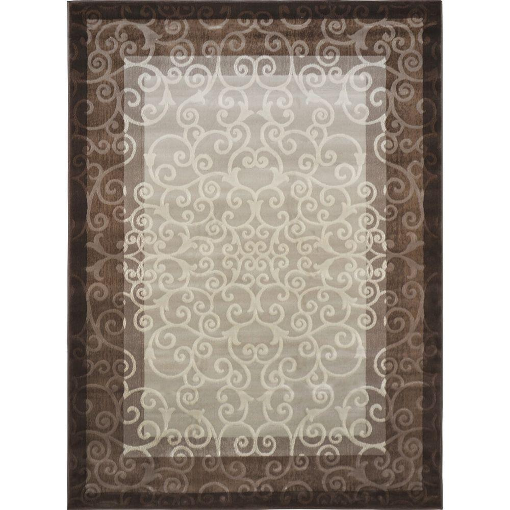 Home Dynamix Melissa Cream/Brown 7 ft. 8 in. x 10 ft.