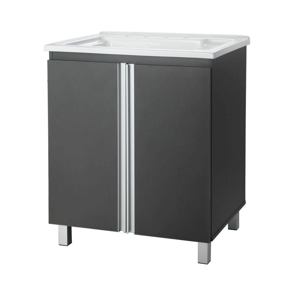 Foremost Tritan 30 in. Laundry Vanity in Iron Gray with Acrylic top in White-DISCONTINUED