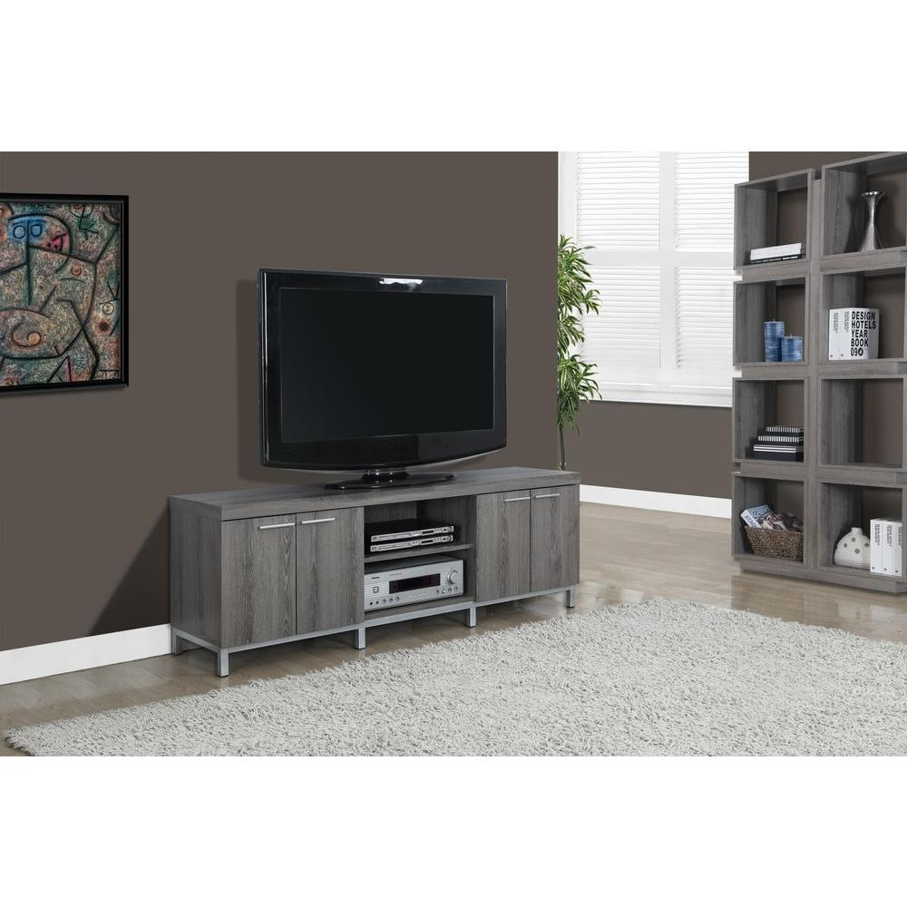 Monarch Specialties 60 in. L TV Console in Dark Taupe Reclaimed-Look-I