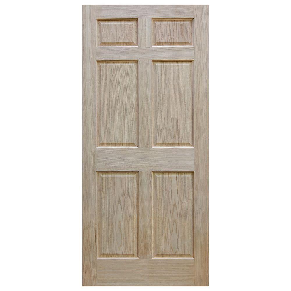 Evermark 36 In X 80 In Unfinished 6 Panel Solid Core Red Oak Interior Door Slab 1002004 The