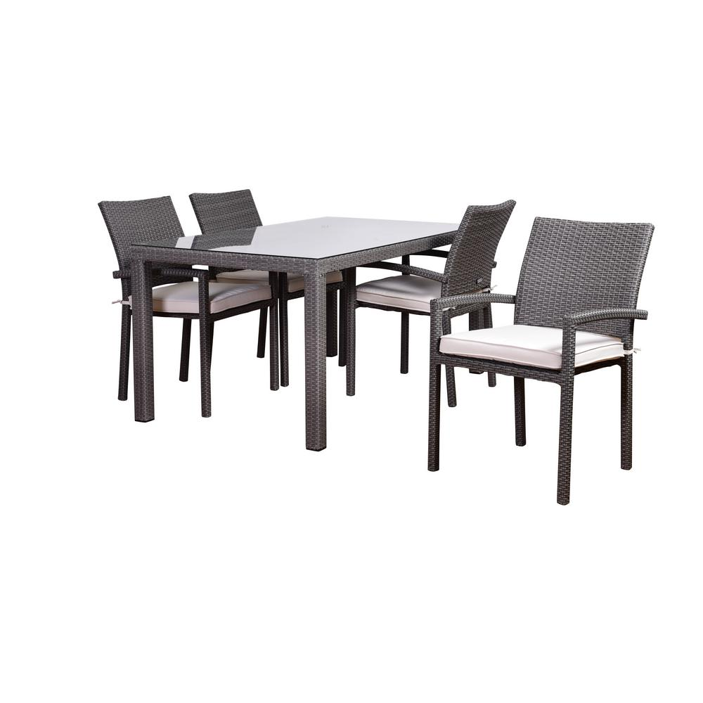 Atlantic Liberty 5-Piece Synthetic Wicker Rectangular Patio Dining Set with Off