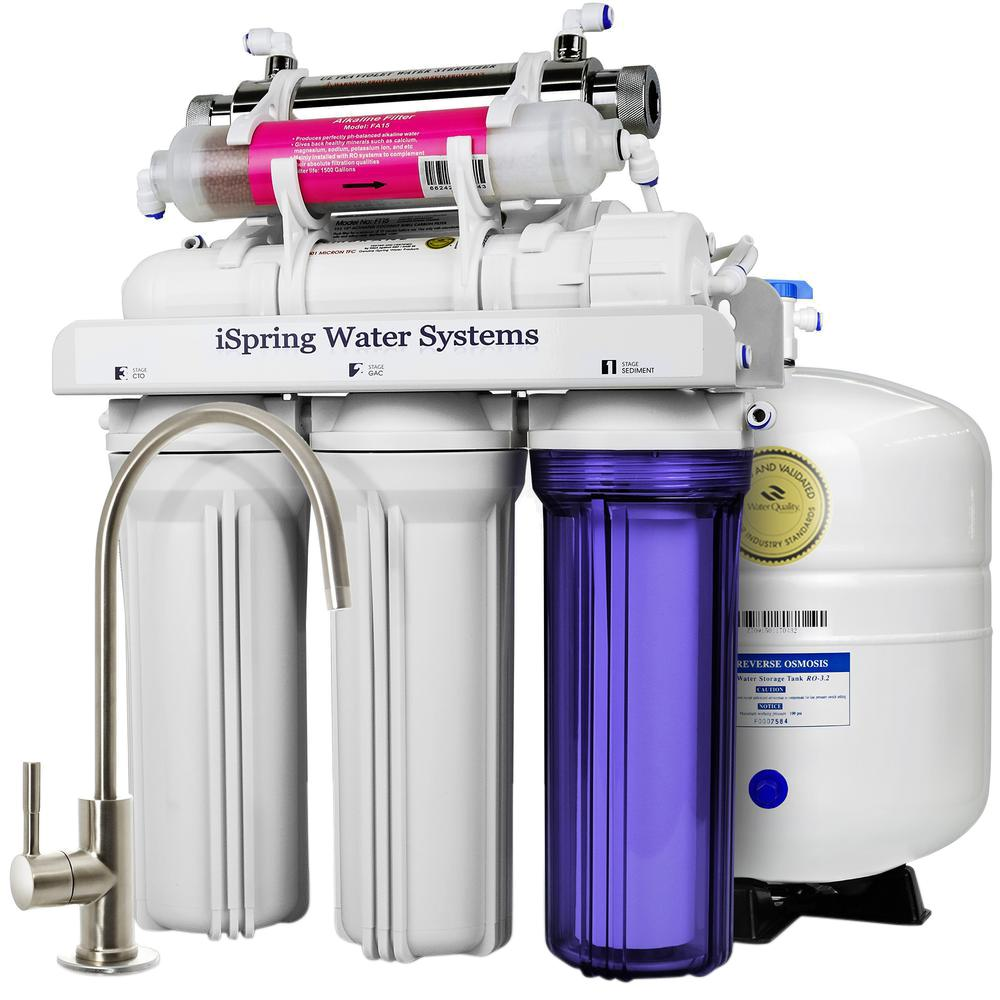 7-Stage Under-Sink Reverse Osmosis Water Filter with Alkaline Remineralization