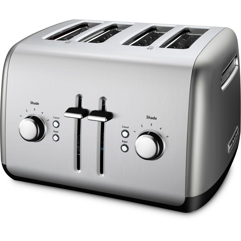 KitchenAid 4-Slice Toaster with Illuminated Buttons in Contour Silver-KMT4115CU