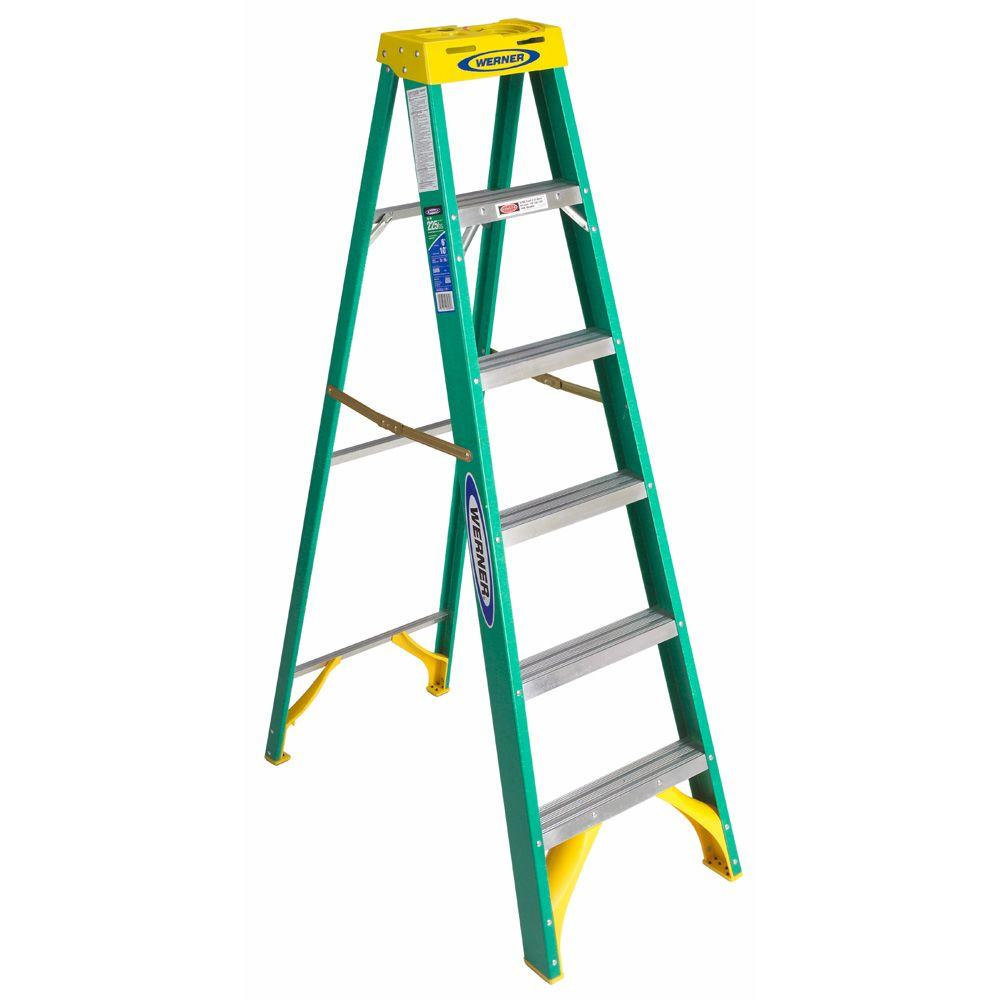 6 ft. Fiberglass Step Ladder with 225 lb. Load Capacity Type