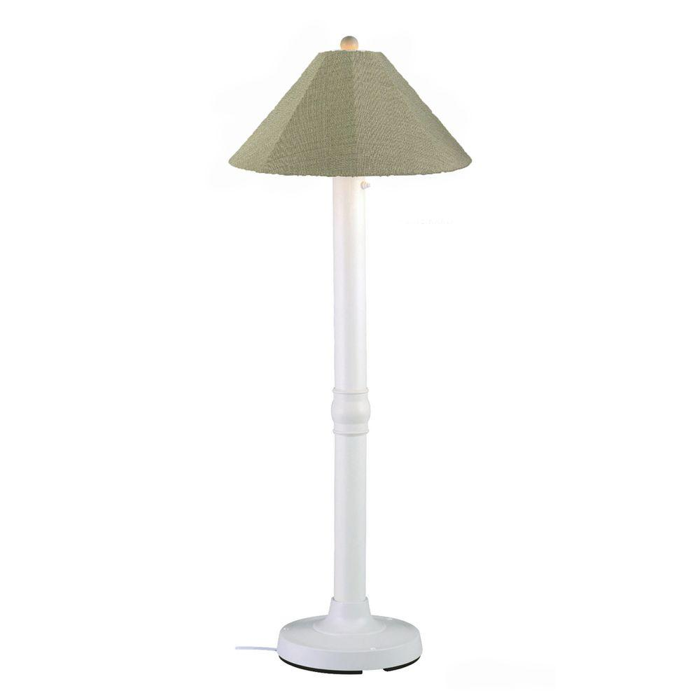 Seaside 60 in. White Outdoor Floor Lamp with Basil Linen Shade