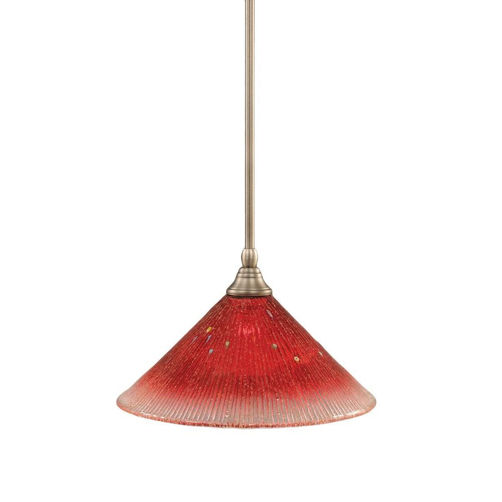 Filament Design Concord 1-Light Brushed Nickel Pendant with Raspberry Crystal Glass