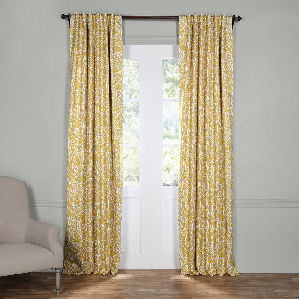 rod pocket curtains drapes window treatments the home depot semi opaque abstract misted yellow blackout curtain 50 in w x