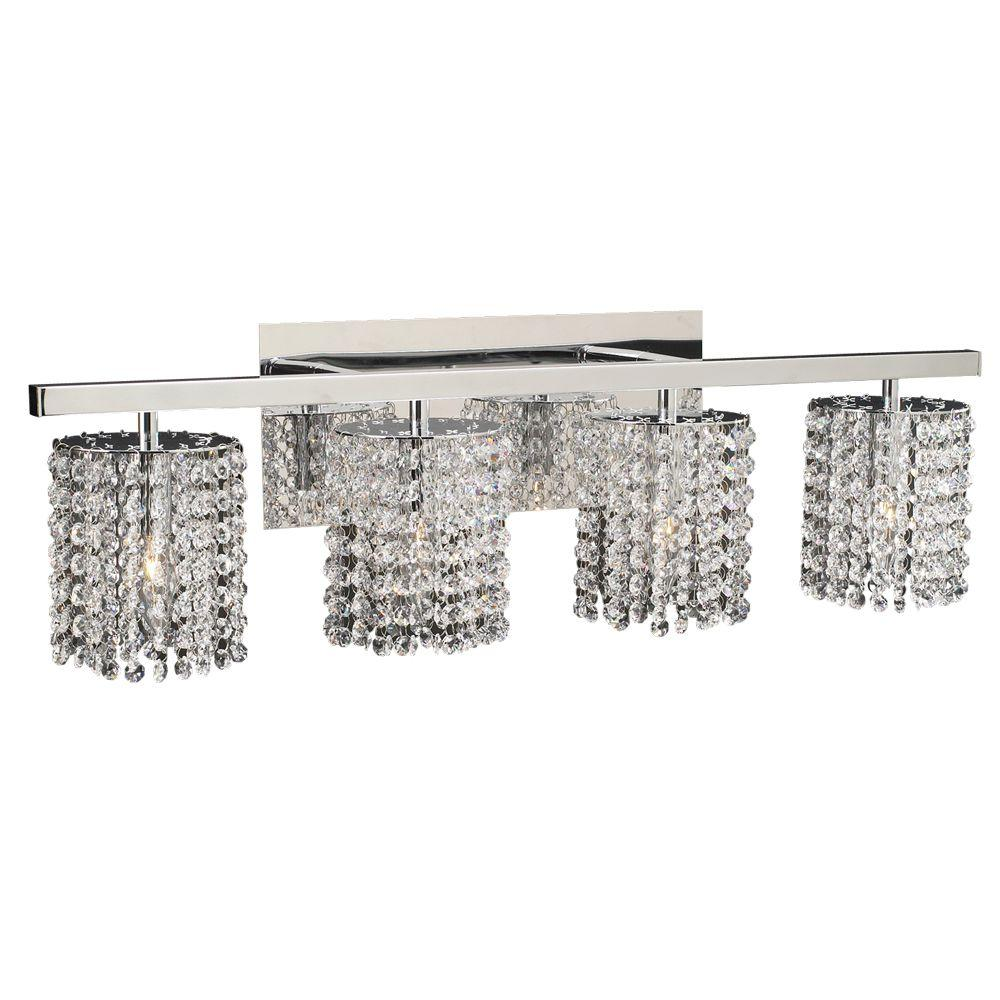 PLC Lighting 4-Light Polished Chrome Bath Vanity Light with Clear