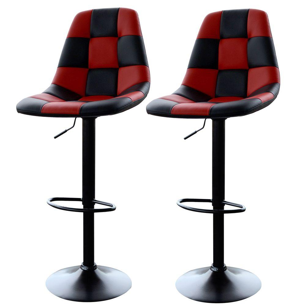 Adjustable Height Red/Black Swivel Cushioned Bar Stool (Set of 2)