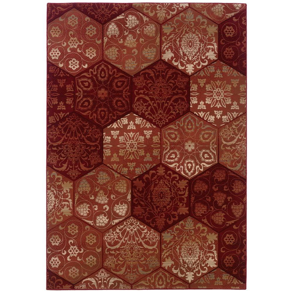 LR Resources Lucarne Rose Tones 9 ft. x 12 ft. 2 in. Plush Indoor Area Rug