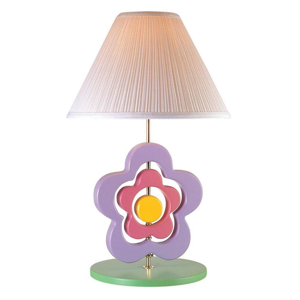 Illumine 23 in. Multi-Colored Kids and Teens Hippie Spinning Flower Table Lamp