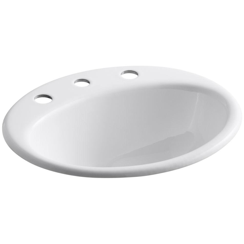 KOHLER Farmington Drop In Cast Iron Bathroom Sink in White with Overflow  Drain K 2905 4 0   The Home Depot. KOHLER Farmington Drop In Cast Iron Bathroom Sink in White with