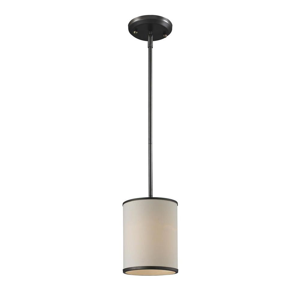 Lawrence 1-Light Creme and Bronze Incandescent Ceiling Pendant